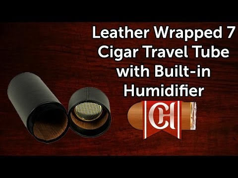 Leather Wrapped 7 Cigar Travel Tube with Built in Humidifier