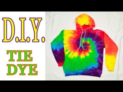 DIY Tie Dye Rainbow Spiral Hooded Sweatshirt [Tutorial] #19