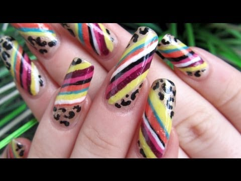 Colorful Vivienne Westwood Inspired Design with Leopard Print Nail Art Tutorial