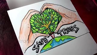 How To Draw Save Tree Save Earth