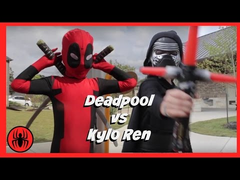 Kid Deadpool vs Kylo Ren in Real Life Superhero Battle   STAR WARS 7 Fights   Super Hero Kids Movie