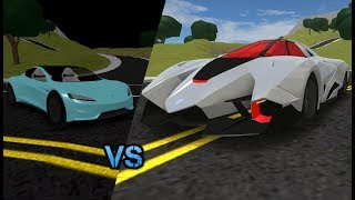 Roblox Vehicle Simulator Tesla Roadster 2 0 Vs Lamborghini Egoista