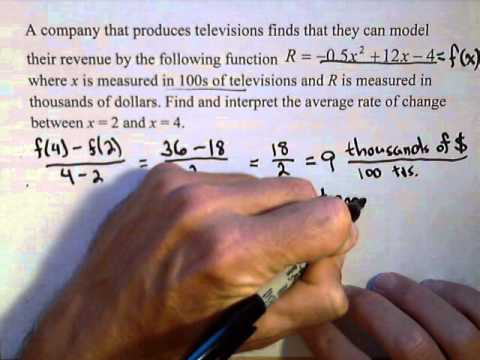 Finding the Average Rate of Change Between Two Points on a Quadratic Function
