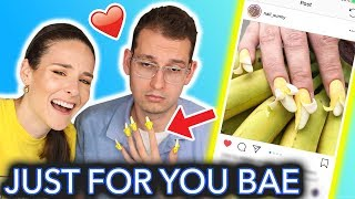 Giving My Boyfriend Banana Nails (peel me baby)