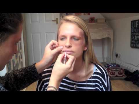 How to create a black eye and cut lip