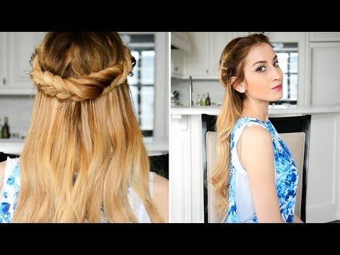 Romantic Rope Braid Crown with Wavy Hair | Fancy Hair Tutorial