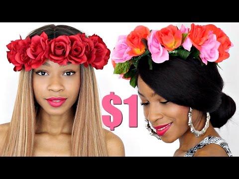 DIY Flower Crown Headband Collab w/ Crystal Michelle►Dollar Store Challenge