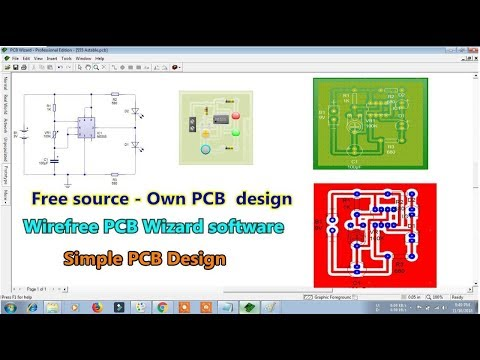 Simple PCB circuit Design in Computer  - Wirefree PCB Wizard  \ Free source