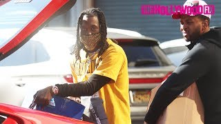Offset Struggles To Close His Ferrari Trunk After Buying Out The Cookie Store On Melrose Avenue