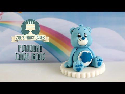 Care Bears: How to make a fondant Care Bear model cake topper blue grumpy Care Bear
