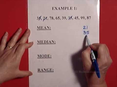 Mean Median Mode Range Part 1 of 2