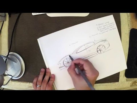 Car design crash course: How to sketch a car in side view with pen & paper