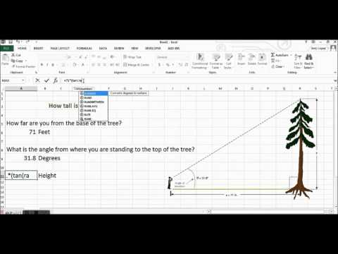 Microsoft Excel Tutorial - Tangent - Finding the Height of a Tree