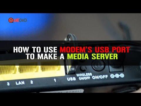How to make a media server through a modem with USB port