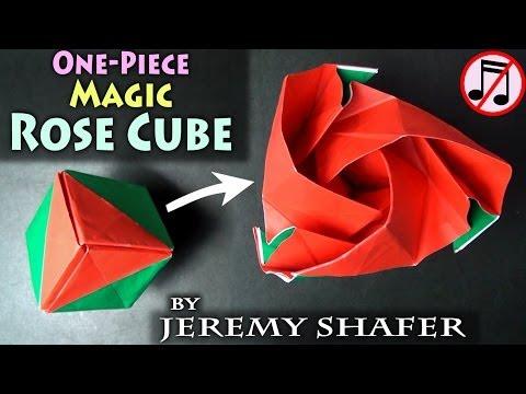 One-Piece Origami Magic Rose Cube (no music)