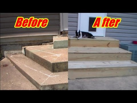 Deck steps over crooked concrete