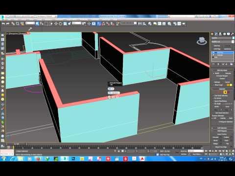 3ds max modeling window door  بناء الجدران مع فتحات النوافذ والابواب بطريقة سريعة ودقيقة
