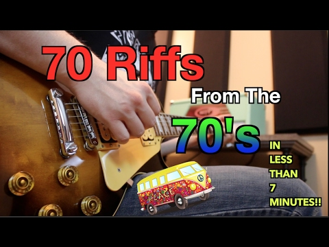 70 Riffs From the 70's on 7 Guitars In Less Than 7 Minutes!!  ( Can You Name Them All?)