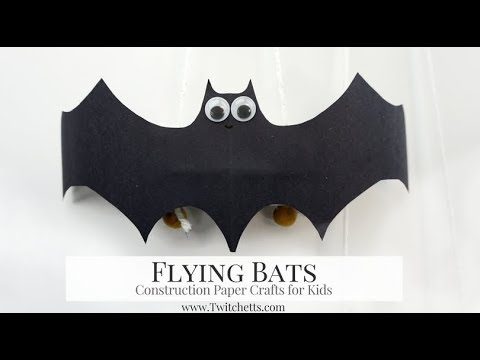 Flying Construction Paper Bats ~ Halloween Crafts for Kids