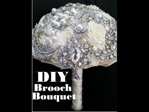 DIY Bridal Brooch Bouquet Kit Easy No Wires Satin Fabric Roses Wedding Flowers