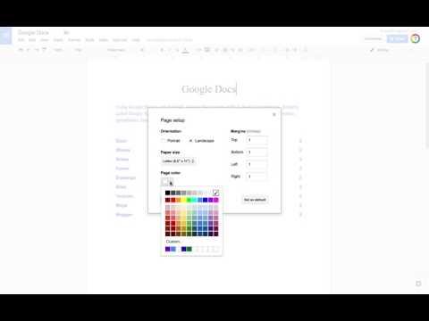 Changing Orientation, Margins and Background Color of Google Docs