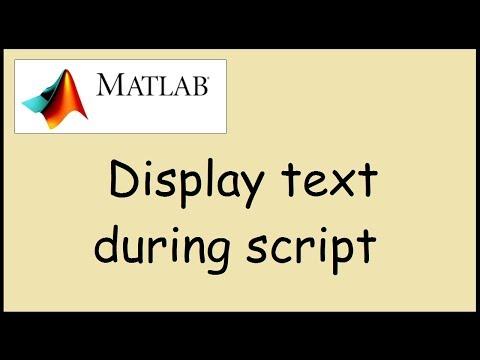 Display text in command window when running program in Matlab