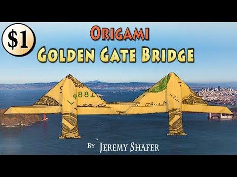 Origami One Dollar Golden Gate Bridge