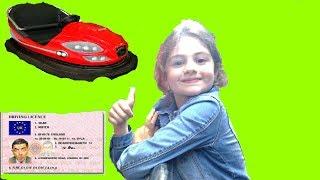 Sara got a new driving license and drifting bumper car
