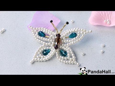133 How to Make Elegant Pearl and Drop Glass Beads Butterfly Brooch 1