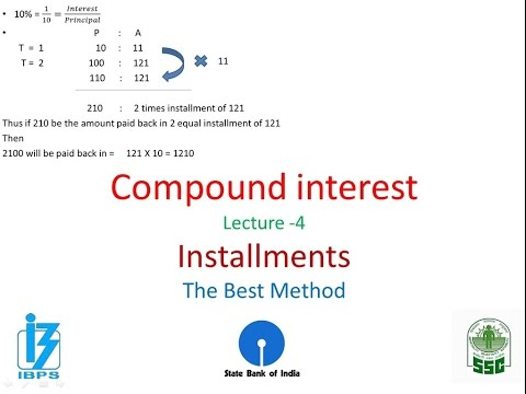 Installments: Compound Interest Installment Best Shortcut   IBPS,SBI,PO,Clerk ,IPPB,SSC