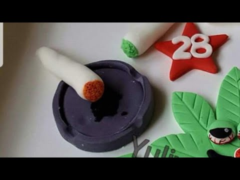 How to make edible ashtray cake topper/tutorial,smoking,cigarettes .