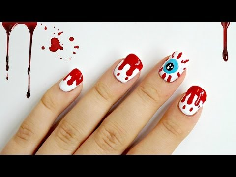 Dripping Blood and Red Eye Halloween Nails