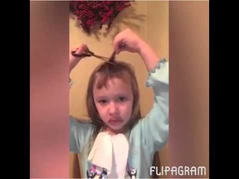 Girl cuts her own hair