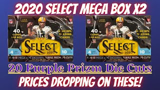 2020 Panini Select Football Mega Box (X2). 20 Purple Prizm Die Cuts.