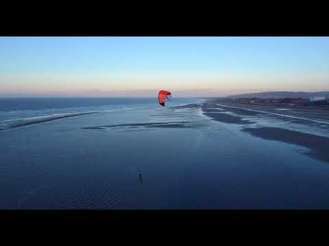 Kitesurfing 20th February 2018 Rhyl North Wales UK in 4K