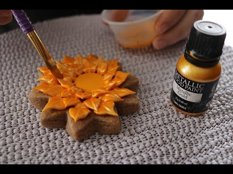 Gold Sunflower Sugar Cookies with 100% edible Metallic Food Paint