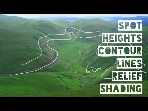 Spot Heights, Contour Lines, Relief Shading - Geo Skills