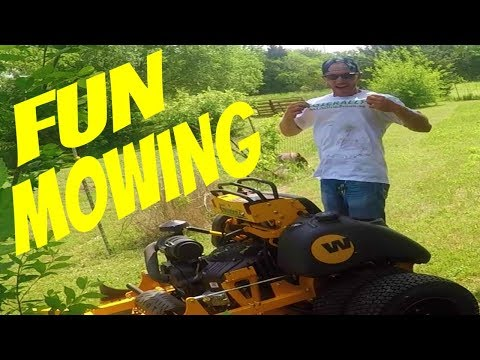 Mowing HOA Property, Having Fun With Lawn Care Crew