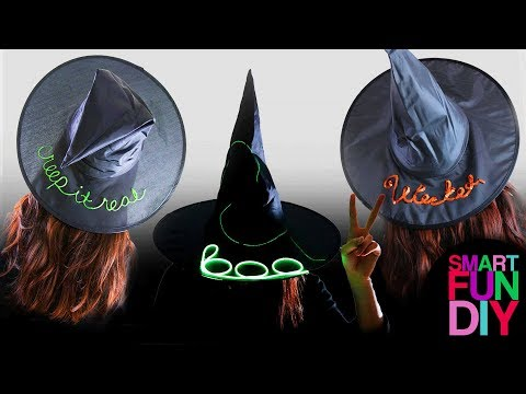 DIY Dollar Store Witch Hats - 3 Beach Hat how to ideas, do it yourself last minute halloween craft