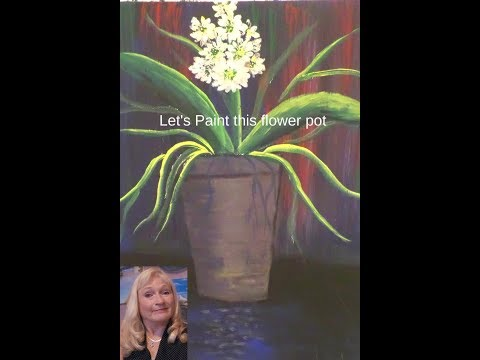How to Paint EASy Daisies in a flower pot with acrylic paint step by step for beginners  lesson 1