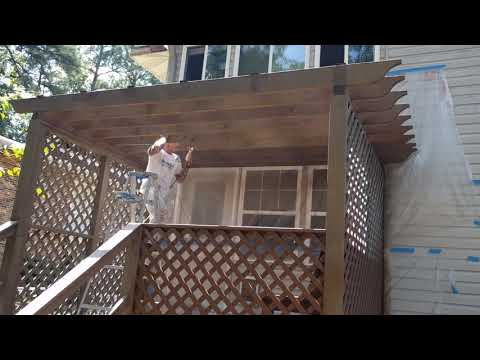 Deck stain spraying techniques - Mack Painters showing you tips and tricks