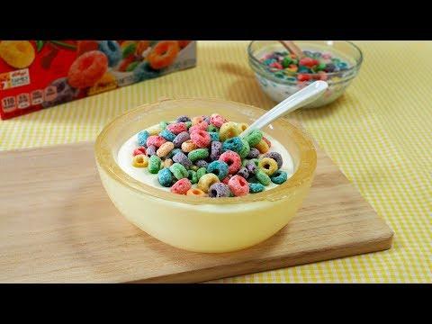 Trick Recipes : Faux Cereal Bowl Cake 丸ごと食べられる なんちゃってシリアルボウルケーキ 牛乳に見えますが