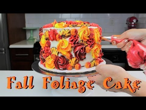 Fall Foliage Cake with Apple Pie Filling | CHELSWEETS