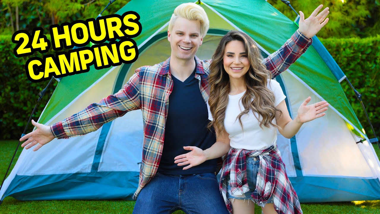 24 HOURS Overnight Camping Challenge in Our Back Yard! w/ Rosanna Pansino