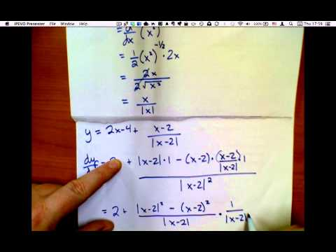 Example of Derivatives of Absolute Values