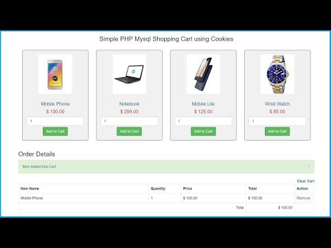 Create PHP Mysql Shopping Cart using COOKIES
