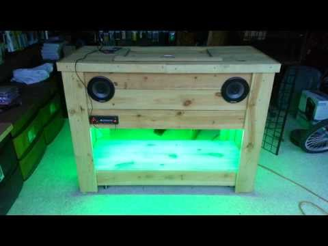 Wooden ice chest with LED lights and stereo part2