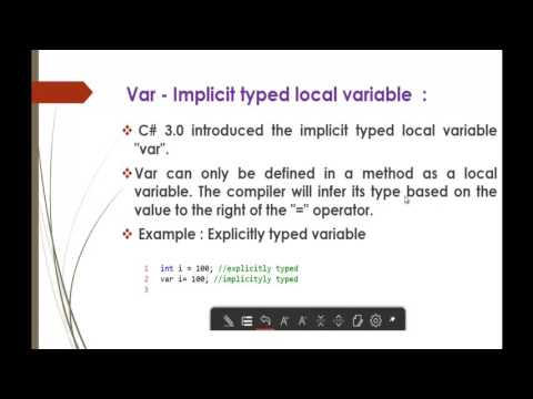 C# Beginner to advanced - Lesson 61 - var – Implicit typed local variable