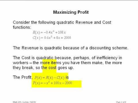Calculus I Ch 4g4 Maximizing Profit