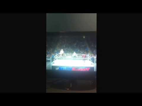 WWE 2k14: Doing a super plexAND BREAKING THE RING.
